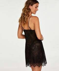 Slipdress Mesh Lace, Zwart