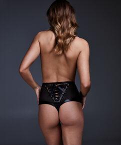 High waist string Manu, Zwart