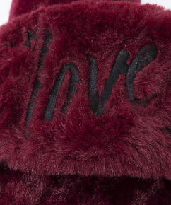 Love fake fur lady slipper, Rood