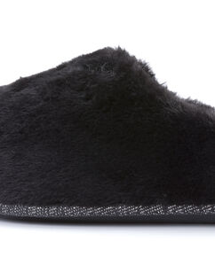 Huisslippers Fake Fur, Zwart