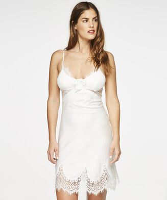 Slipdress Satin Scallop Lace, Wit