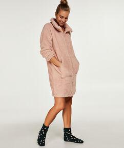 Badjas fleece rits, Roze
