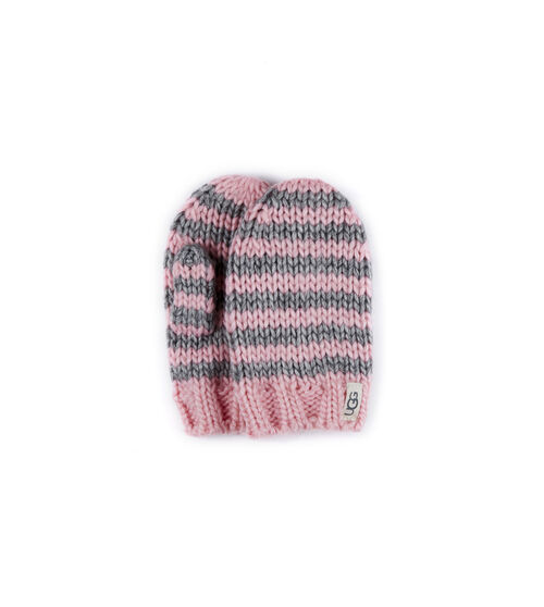 UGG Chunky Stripe Knit Gants en Seashell Pink