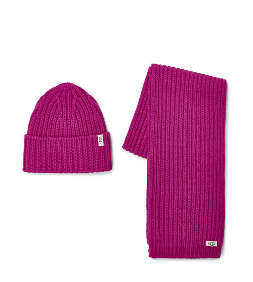 UGG Rib Knit Hat and Scarf Set en Fuchsia