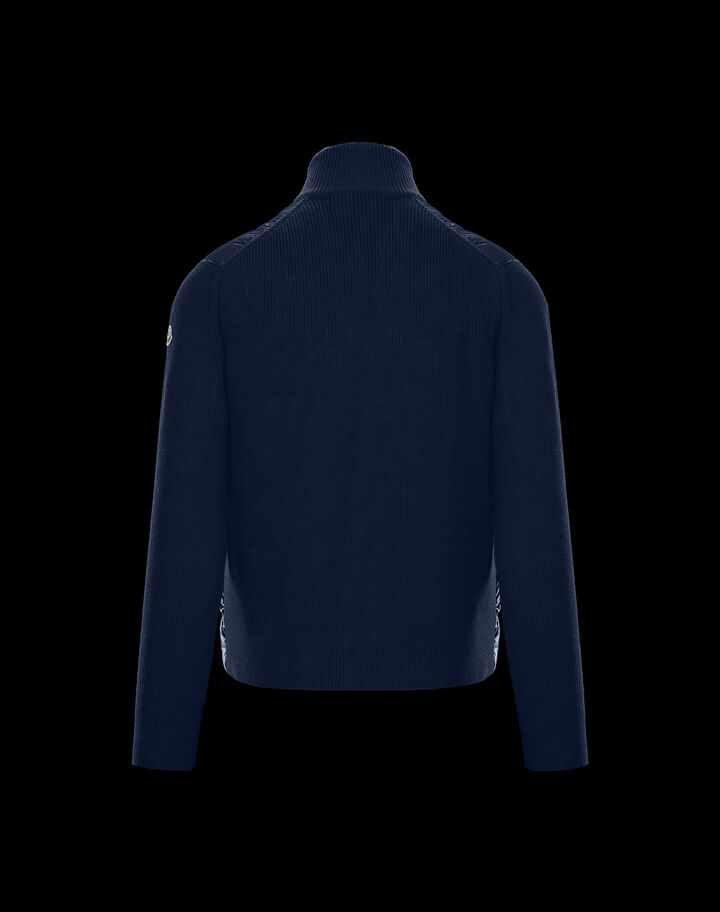 Moncler Tricolor zipper cardigan Night Blue