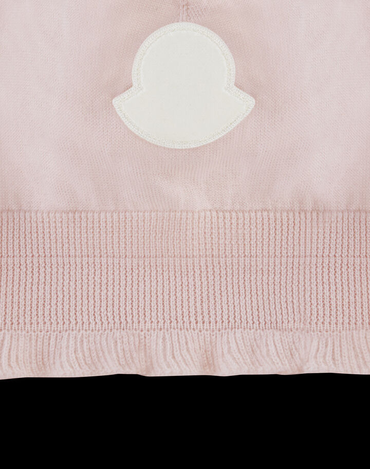 Moncler Pure wool beanie with logo Pale Peach Pink