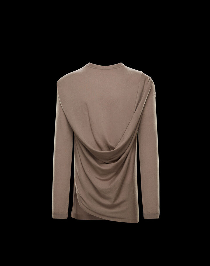 Moncler Draped cashmere cardigan Dust Brown