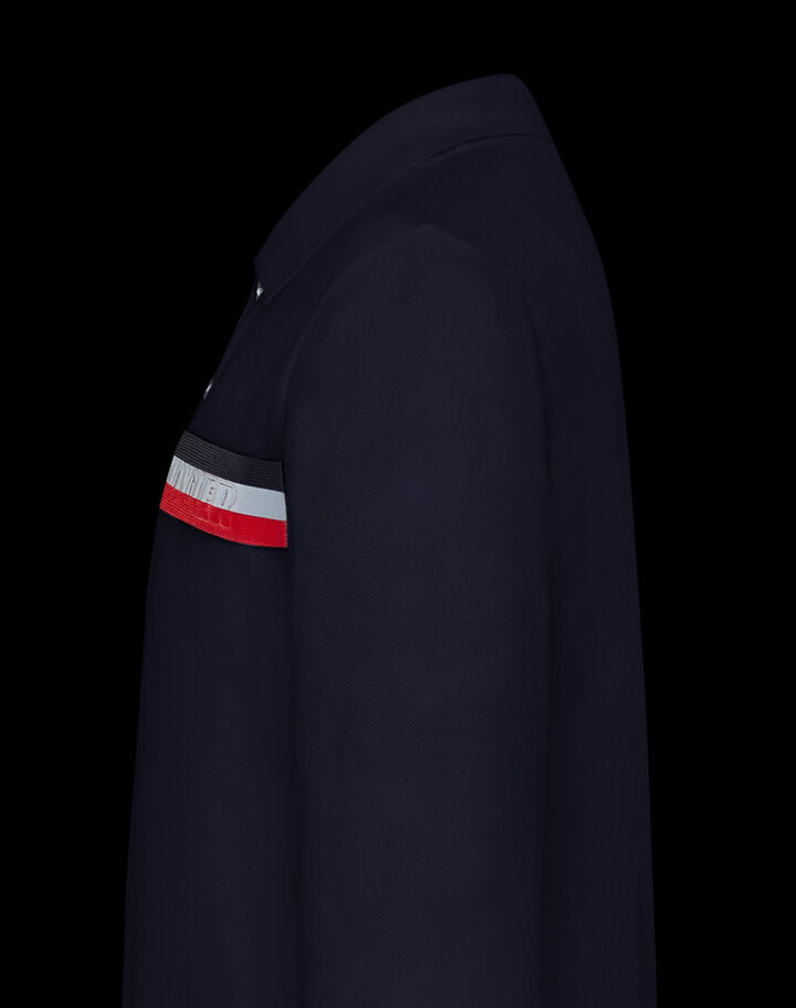 Moncler Polo with tricolor logo Night Blue