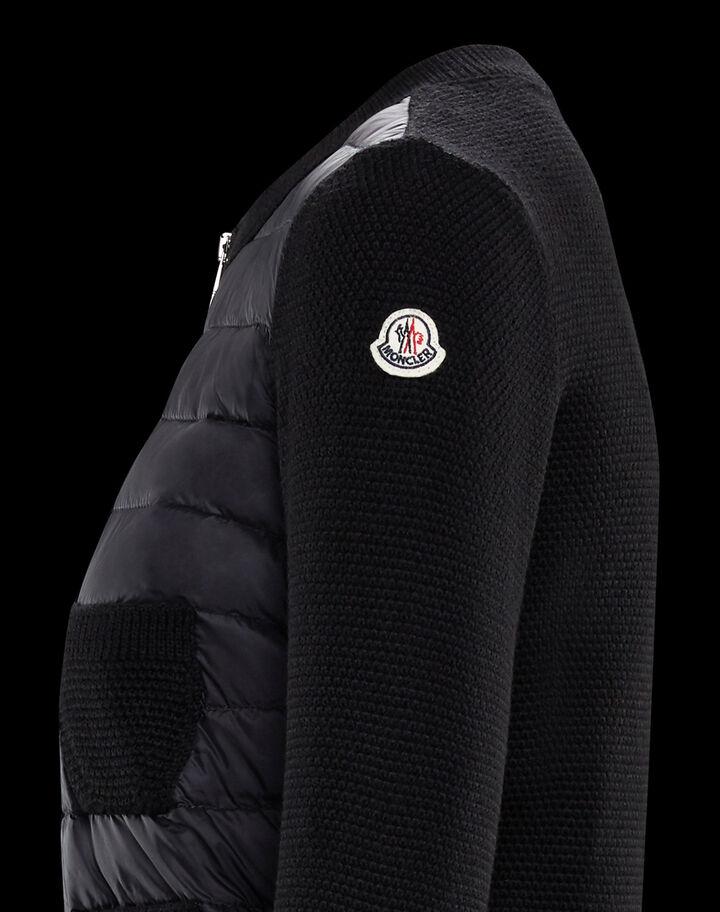 Moncler Wool and nylon cardigan Black