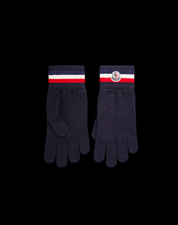 Moncler Pure wool gloves Night Blue
