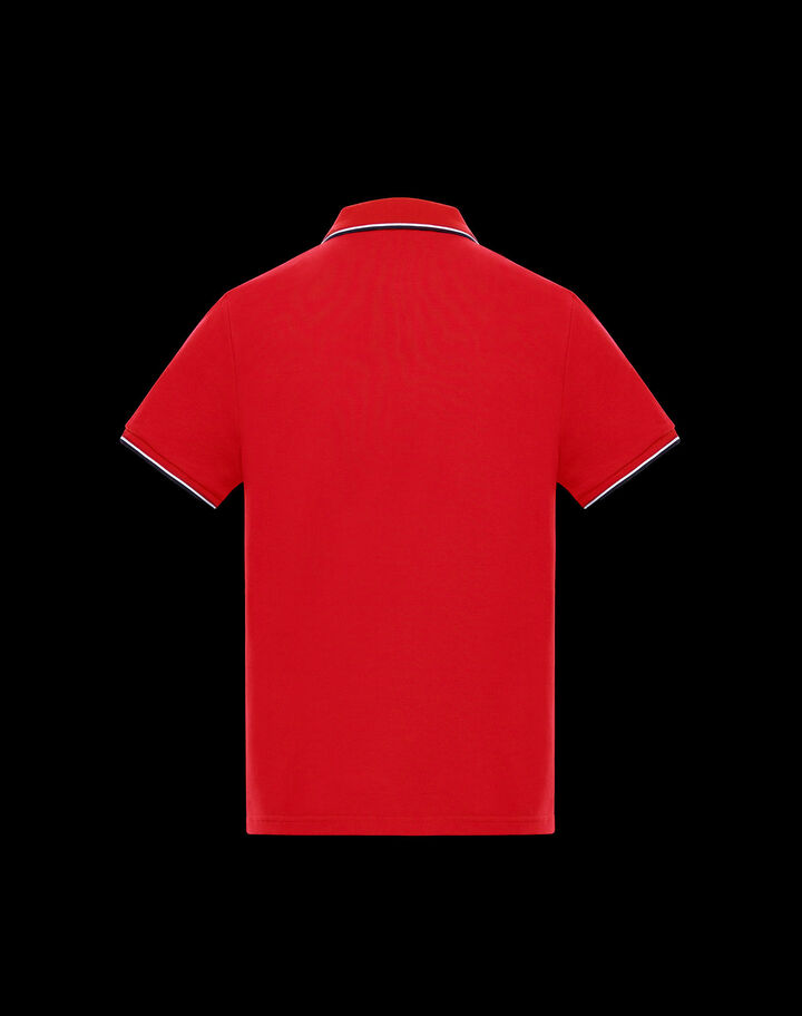 Moncler Polo with tricolor detail Chili Red