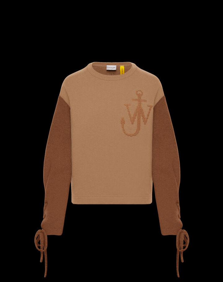 Moncler Sweatshirt with knit sleeves Camel Beige