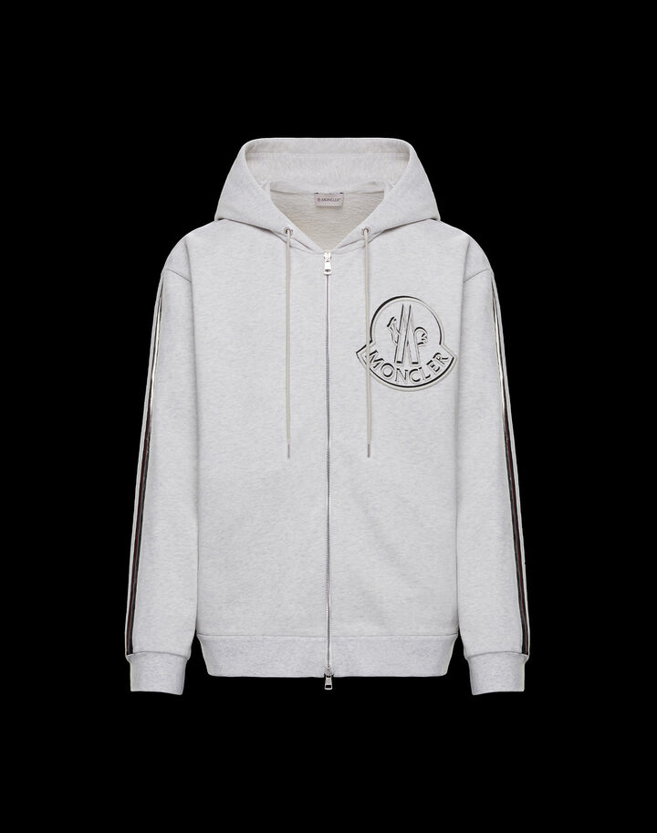 Moncler Sweatshirt with side bands Abalone Gray Mélange