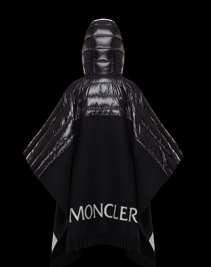 Moncler Cape with padded sleeves Black