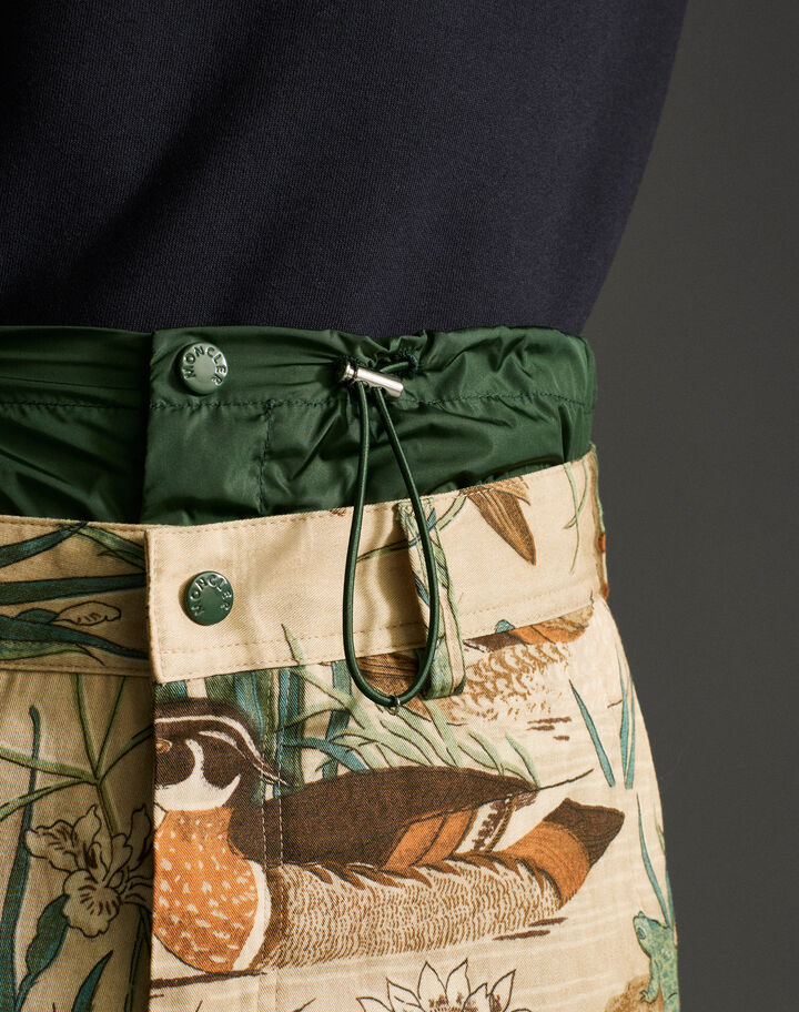 Moncler Printed gabardine pants Duck Print Beige