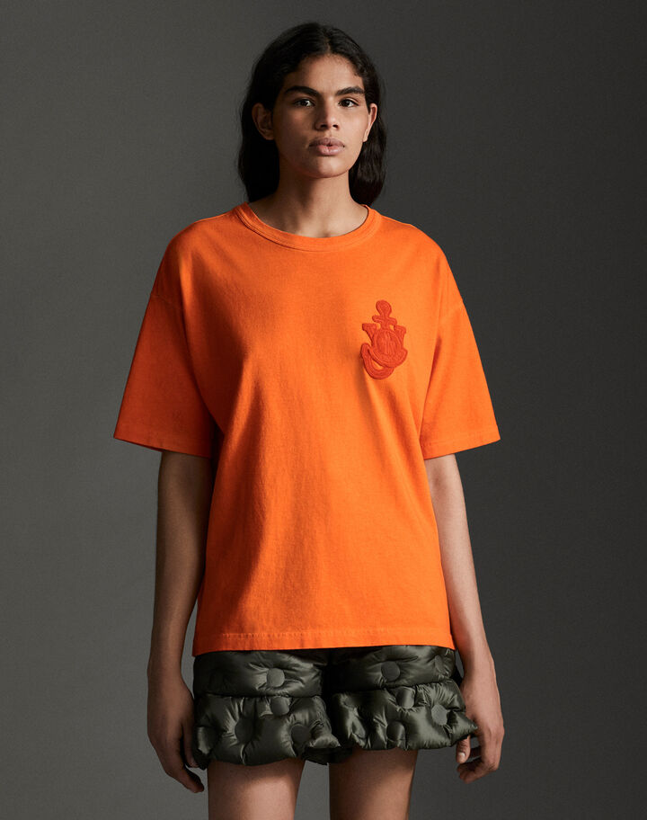 Moncler Cotton t-shirt with logo Bright Orange