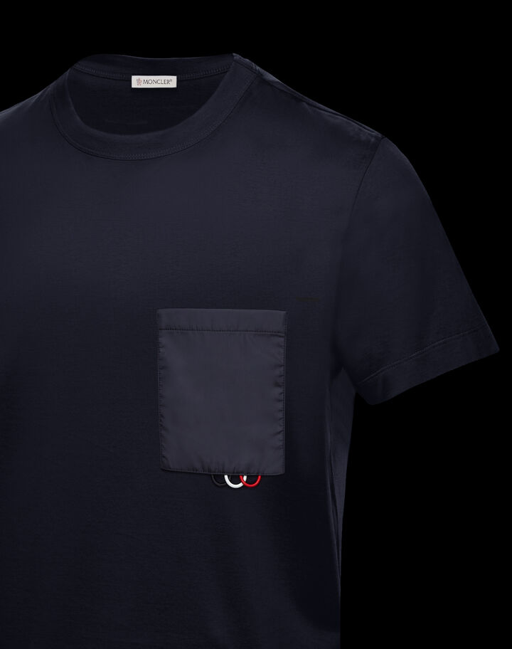 Moncler T-shirt with nylon pocket Night Blue