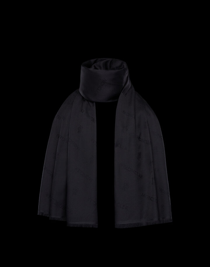 Moncler Jacquard silk scarf Black