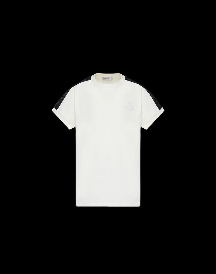 Moncler 레터링 레트로 티셔츠 실크 화이트