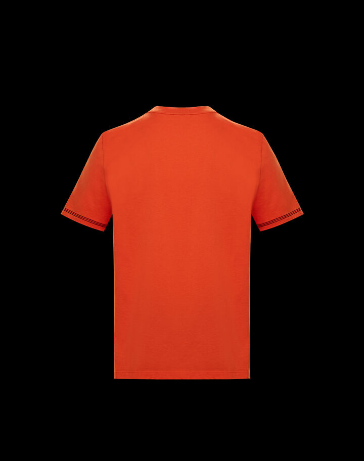 Moncler T-shirt with stylized logo Bright Orange