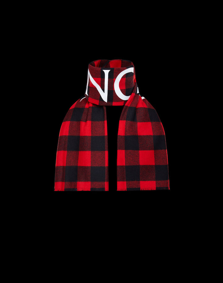 Moncler Check wool scarf Scarlet Red
