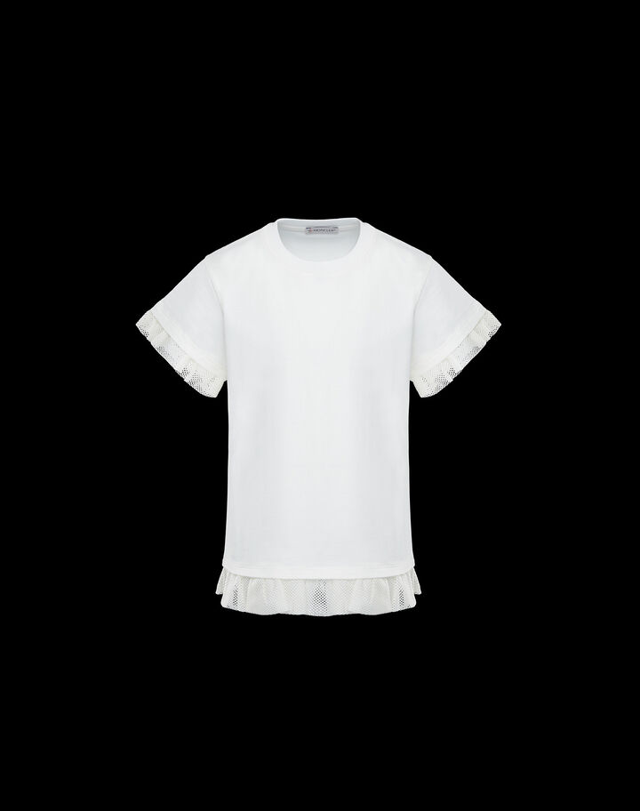 Moncler T-shirt with mesh trim Silk White