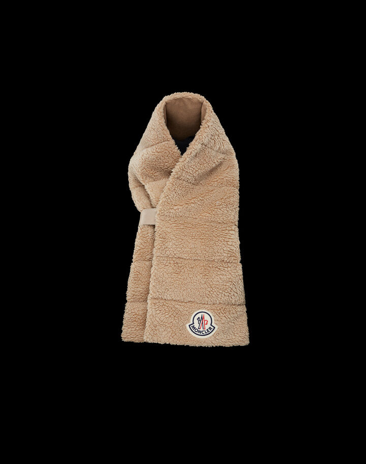 Moncler Faux fur scarf padded Natural Khaki Beige