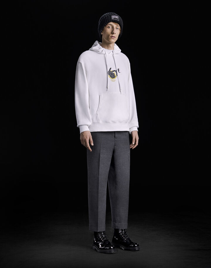 Moncler Hoodie with front print Optical White