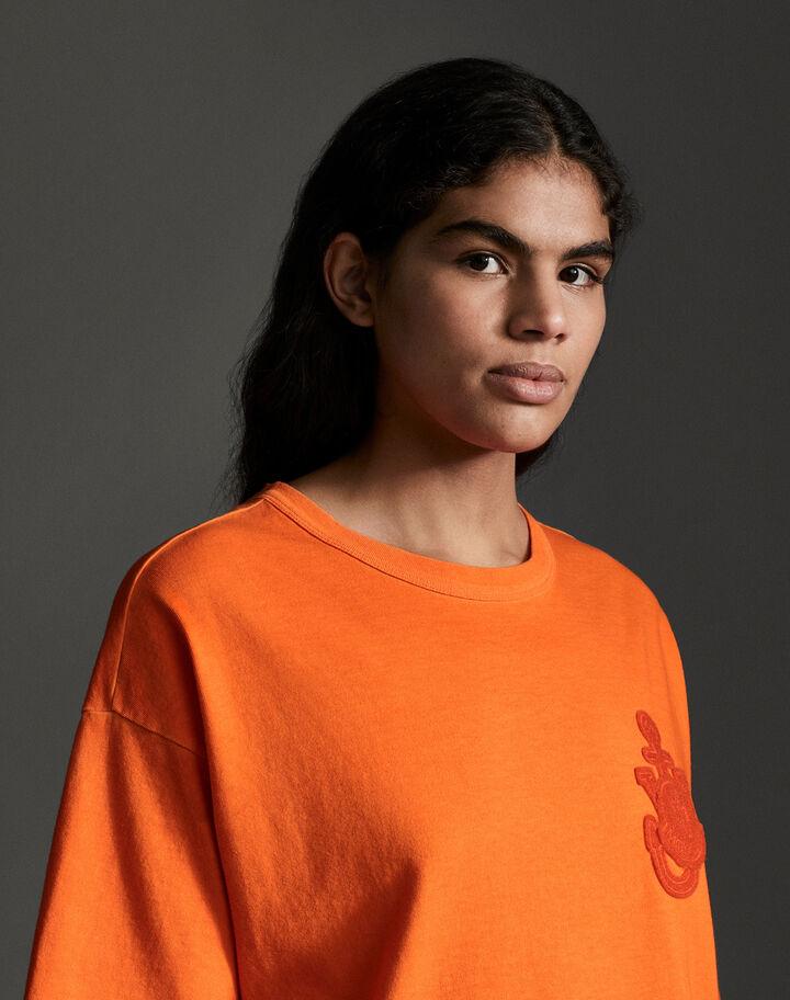 Moncler Cotton t-shirt with logo Bright Orange