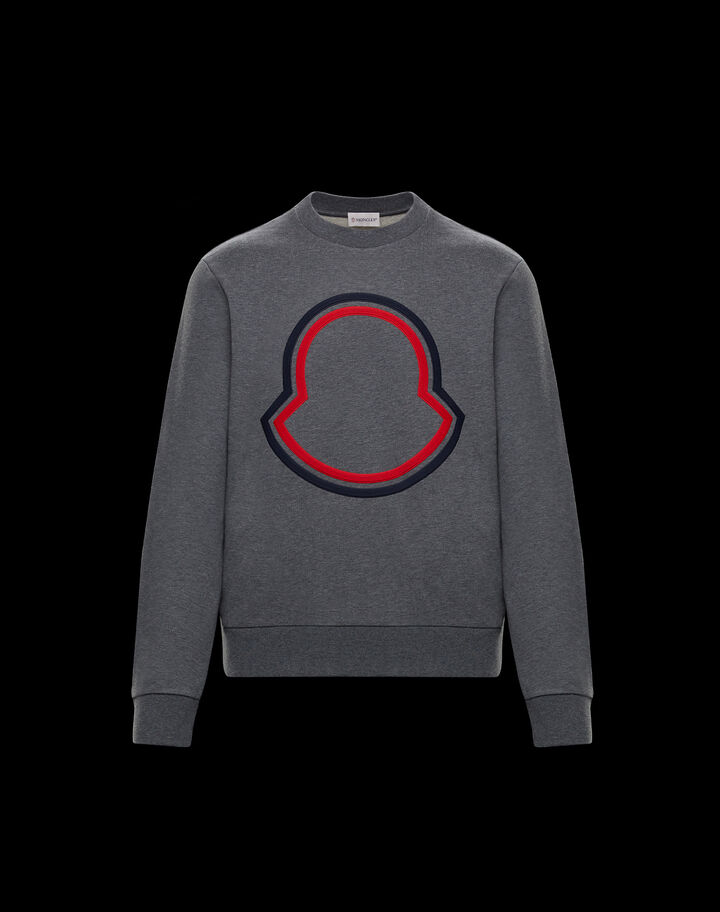 Moncler Crewneck with logo Melange Medium Gray