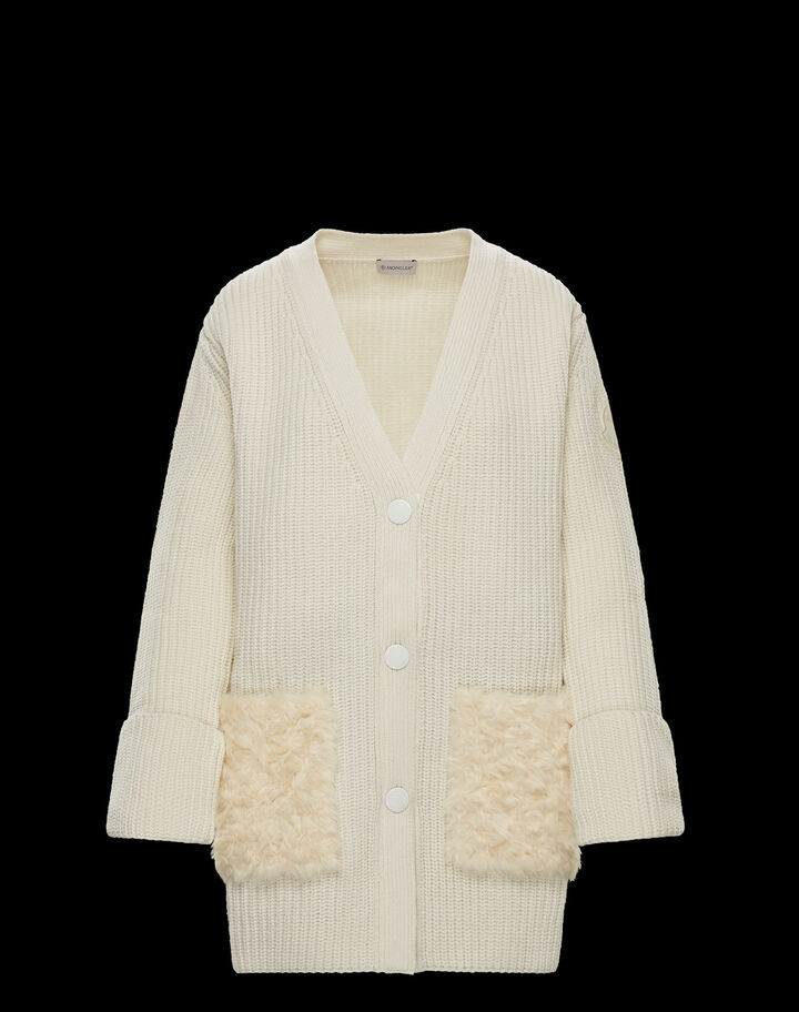 Moncler Wool-blend cardigan Silk White