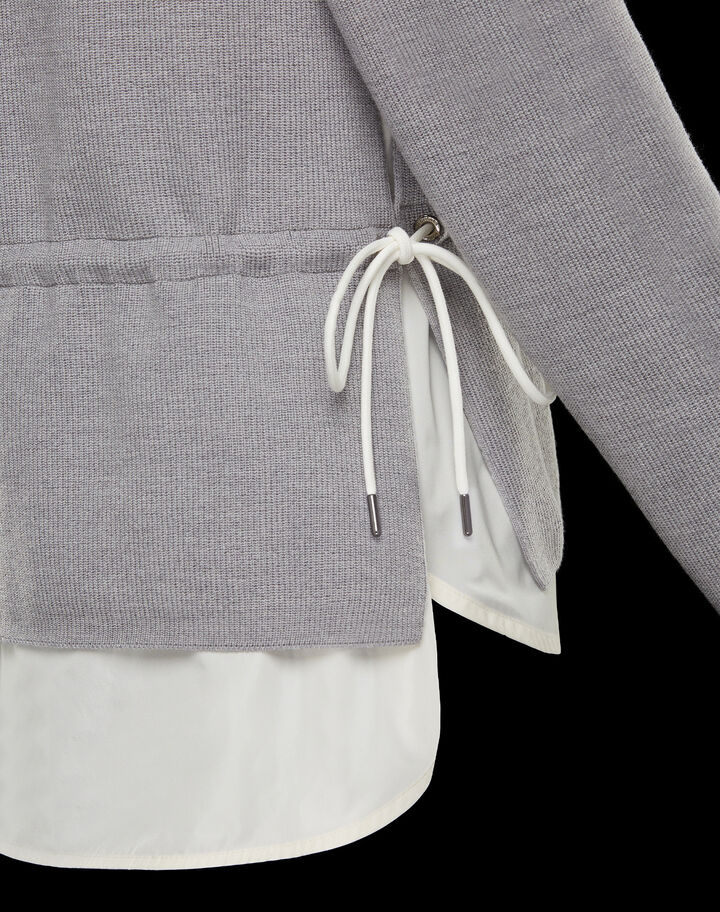 Moncler Wool cardigan with nylon Melange Light Gray