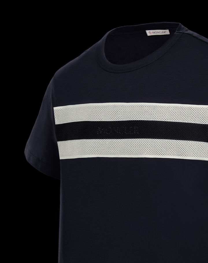 Moncler T-shirt with mesh tape Night Blue
