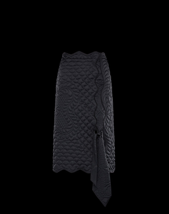 Moncler Embroidered satin skirt Black