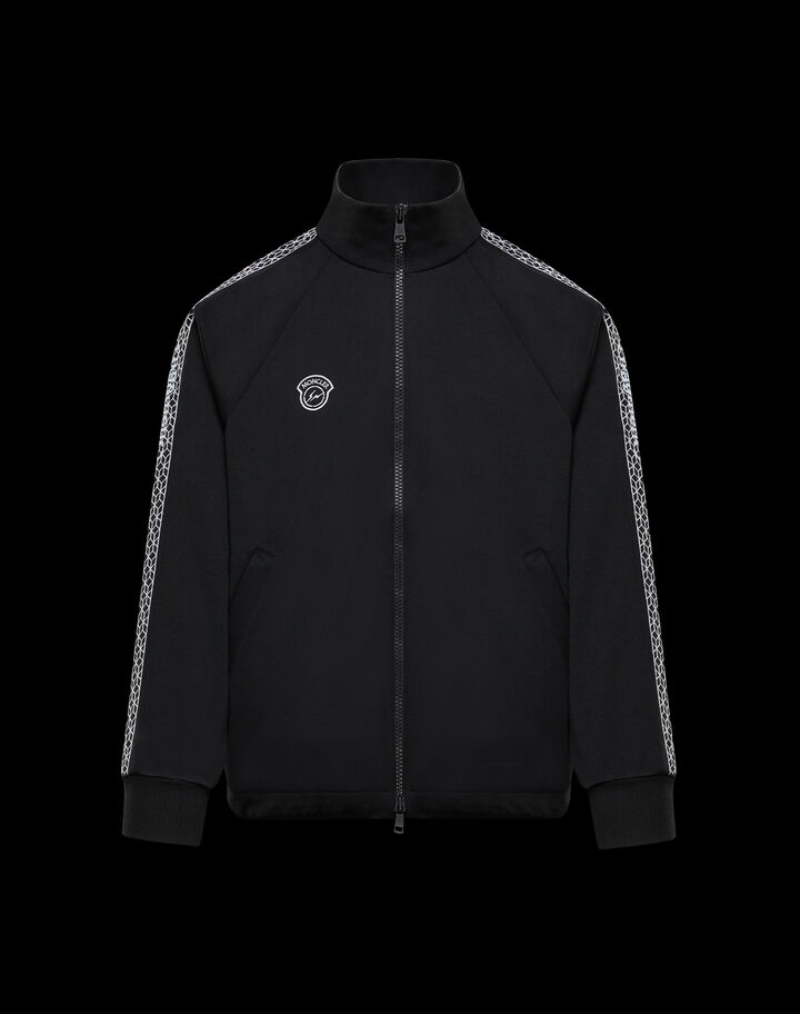 Moncler Sweater with sleeve pattern Black