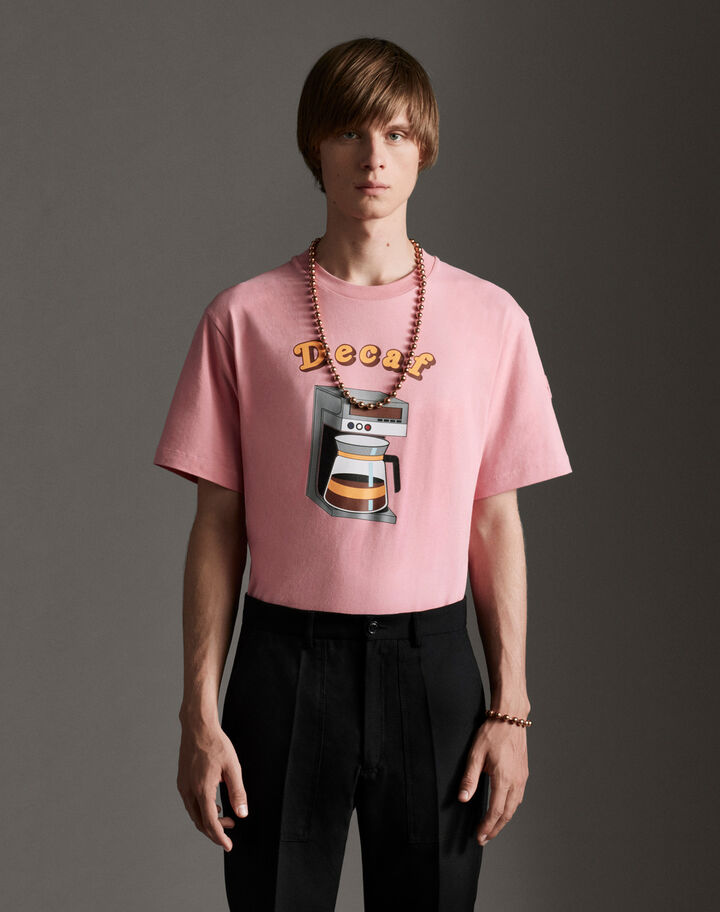 Moncler T-shirt with drawing Pink