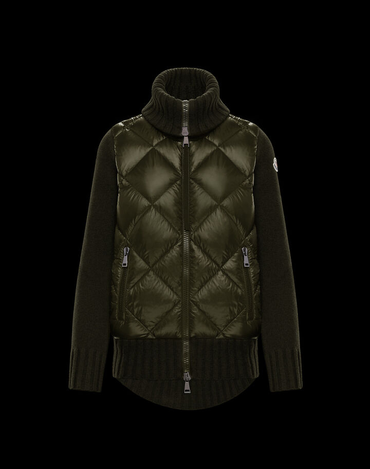 Moncler Down sweater with rhombus Army Green
