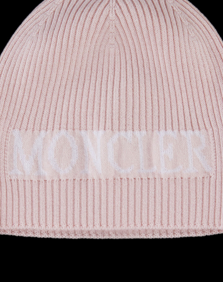 Moncler Beanie with Moncler lettering Pale Peach Pink