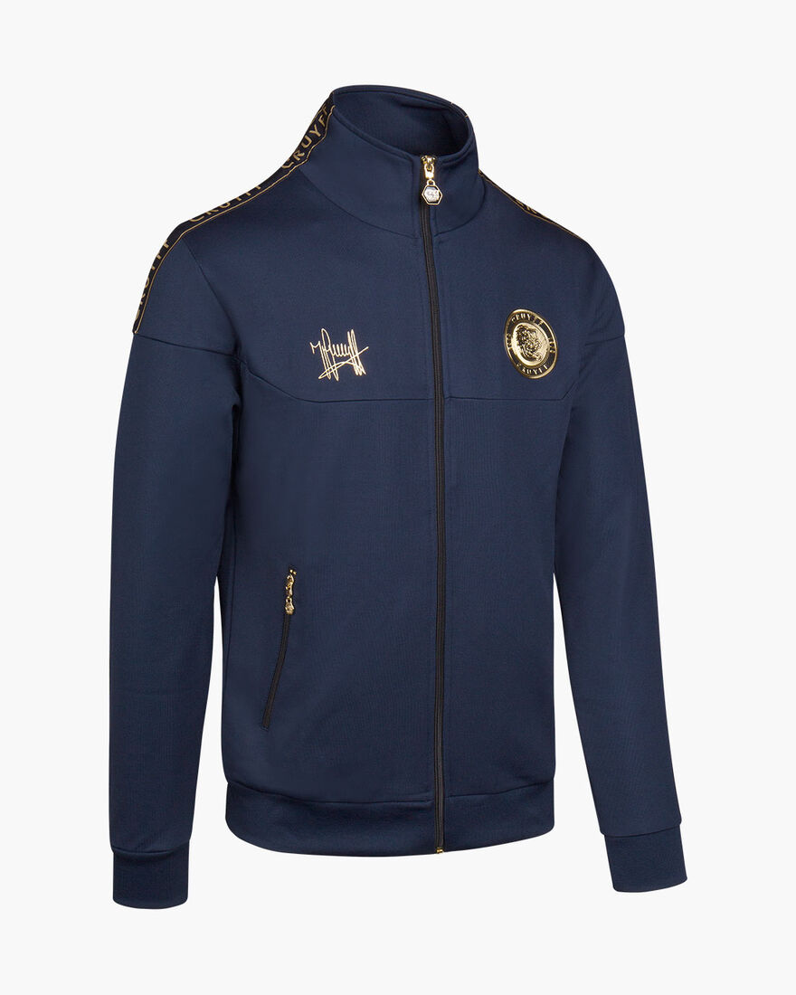 Valentini Track Top - White/Gold - 65% Polyester /, Navy, hi-res