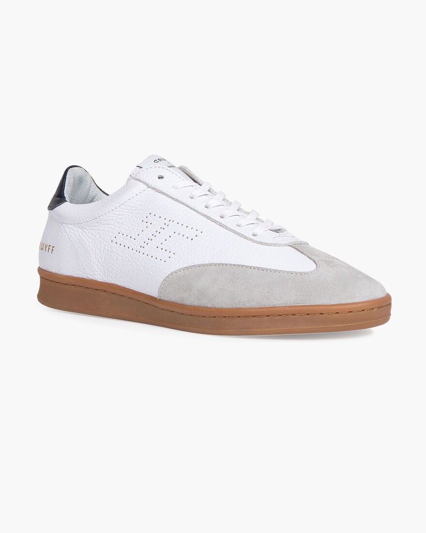 JC Futbol Trainer - Cream - Soft Grain Leather, White, hi-res
