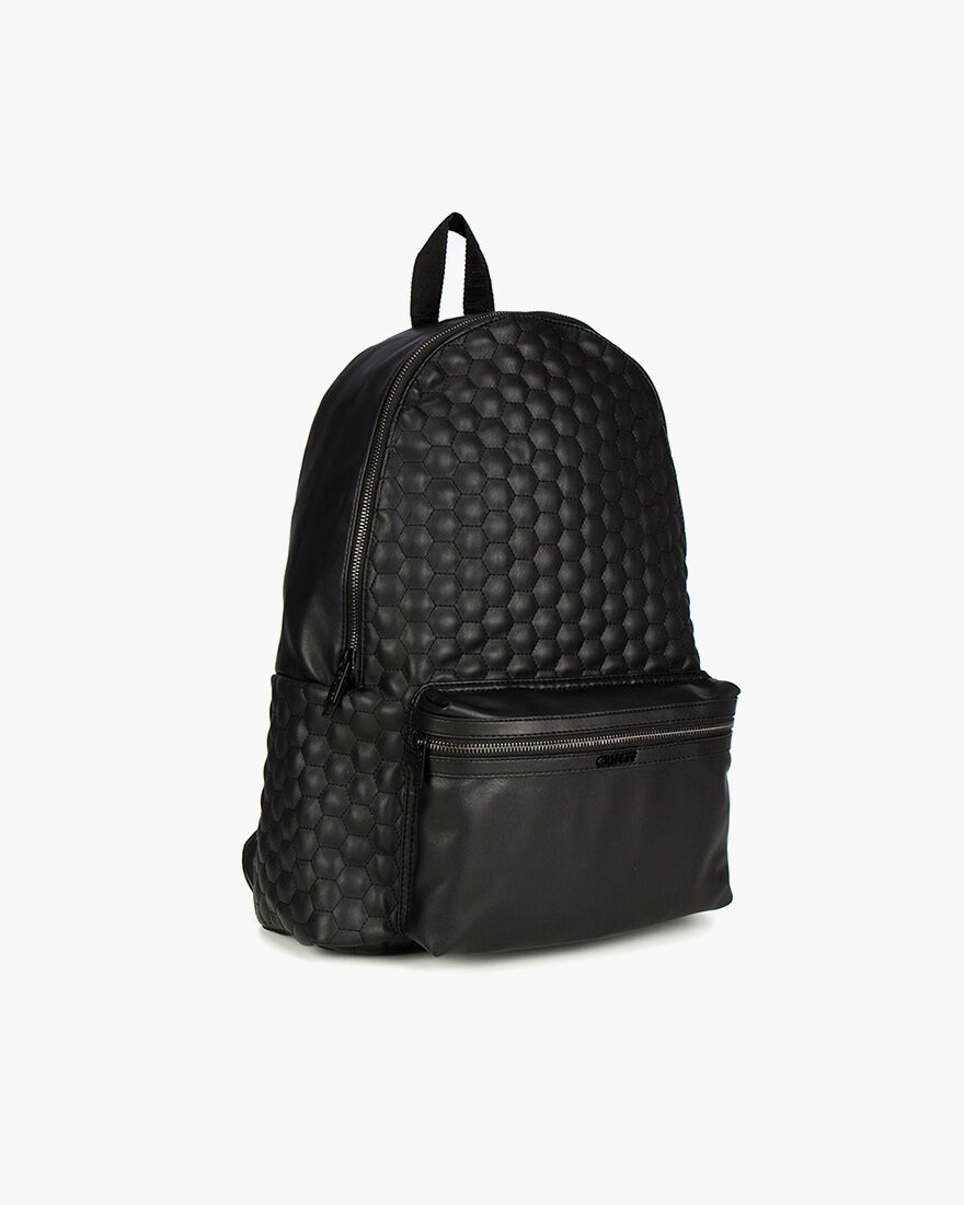 Stitched Hexagon Backpack, Black, hi-res