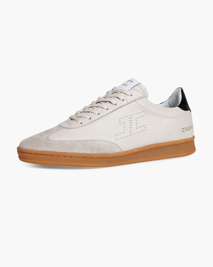 JC Futbol Trainer - White - Soft Grain Leather, Crème, hi-res