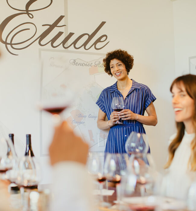 woman conducting a tasting at etude in carneros