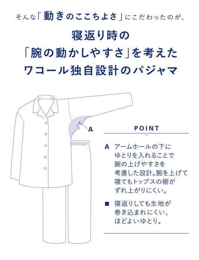寝返り時の「腕の動かしやすさ」を考えたワコール独自設計のパジャマ 機能説明