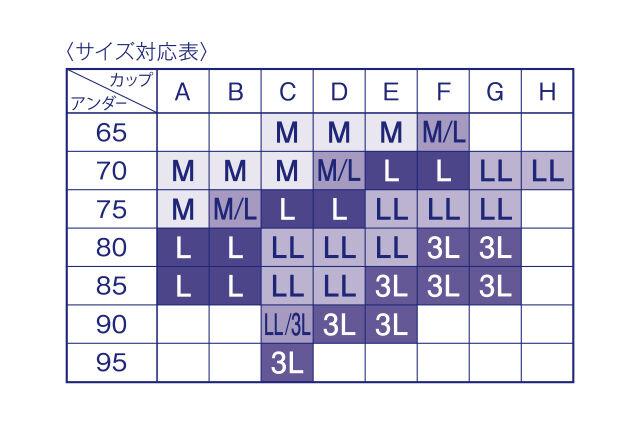 ナイトアップブラ サイズ表
