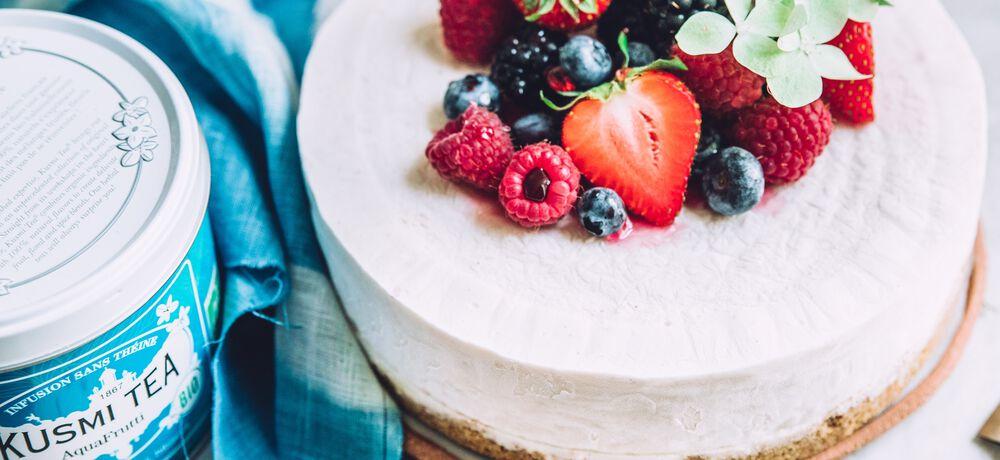Recette : Cheesecake glacé à l'AquaFrutti, l'infusion bio Kusmi Tea