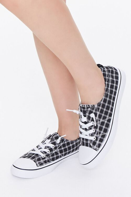 Plaid Canvas Low-Top Sneakers, image 1