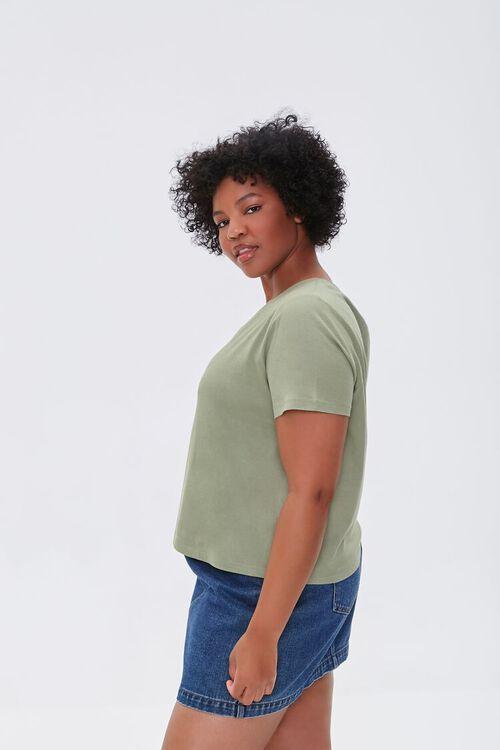 OLIVE Plus Size Basic Organically Grown Cotton Tee, image 2