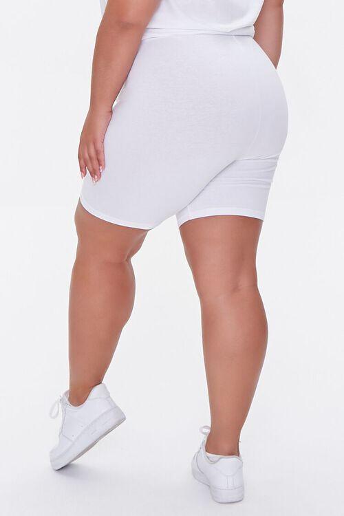 WHITE Plus Size Basic Organically Grown Cotton Biker Shorts, image 4
