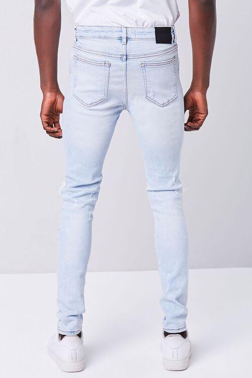 LIGHT DENIM Bleached Distressed Skinny Jeans, image 4